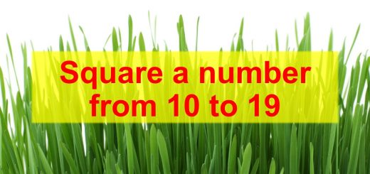 square number from 10 to 19 math trick