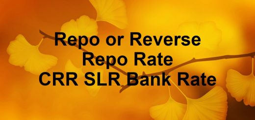 Repo or reverse repo rate CRR SLR Bank rate