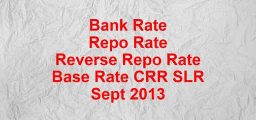 Bank rate Repo rate Reverse Repo rate Base rate CRR SLR Sep 2013