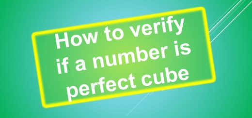 How to verify if a number is perfect cube