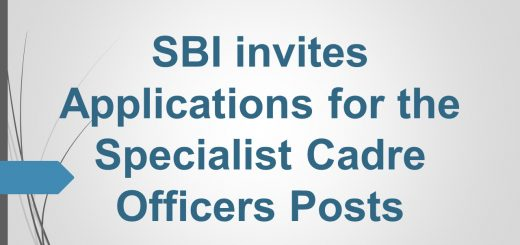 SBI invites Applications for the Specialist Cadre Officers Posts