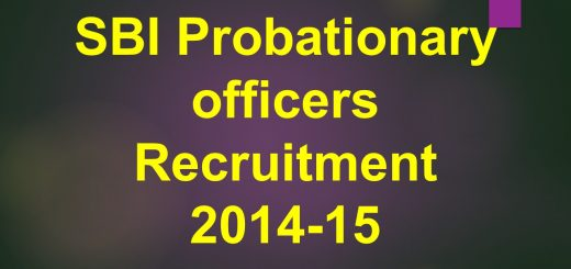 SBI Probationary Officers Recruitment 2014-15