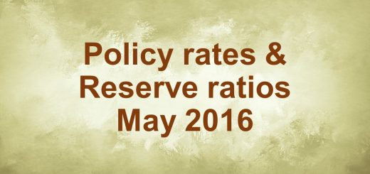 Policy rates & Reserve ratios May 2016