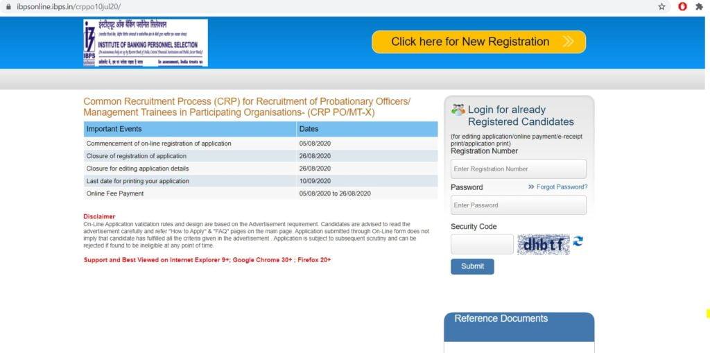IBPS PO Registration