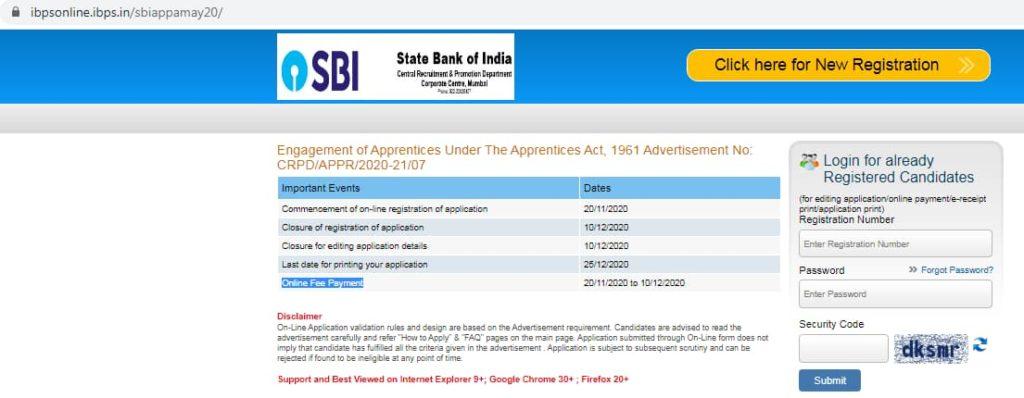 Apprentice Registration SBI