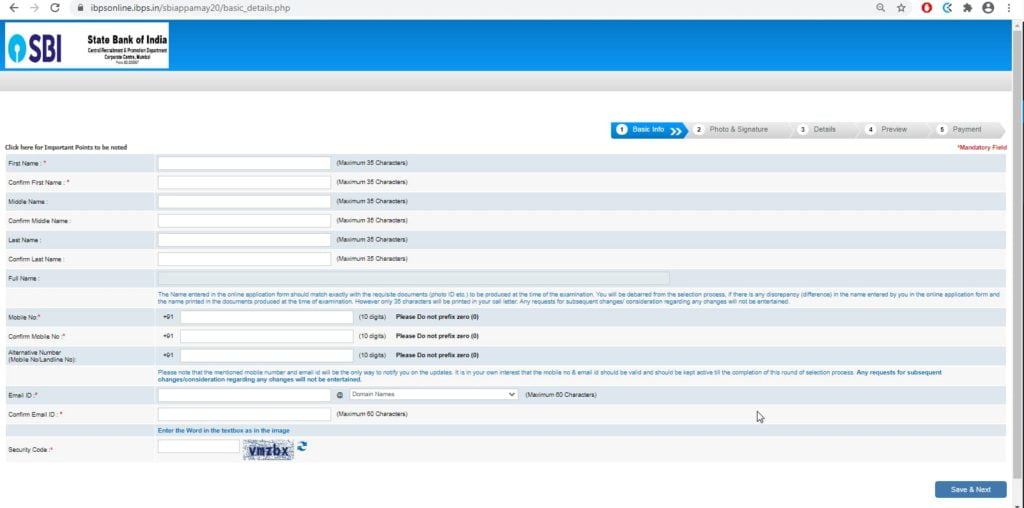 SBI Apprentice Online Form 2020